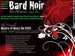 The Histories. A webpage mockup for my digital typography course. Bard Noir is an intereactive timeline of Shakespeare's plays separated into the four genres; Tragedies, Comedies, Romances, and Histories.