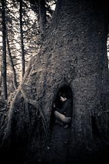 katie in the tree (smiller555) Tags: blackandwhite sepia oregon pacificocean cannonbeach ecolastatepark