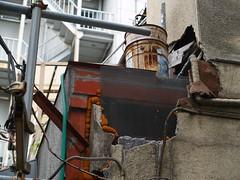 crumbling wall (umitomo) Tags: street wall wire rust tube pipe ruin rusty 100views 200views nudity  crumbling kamata coupler collaps collapsing crumblingwall innerside innercoat