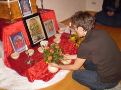 Pedi making offerings at her Mitra ceremony in Buddhistisches Tor Berlin on 4th September 2007