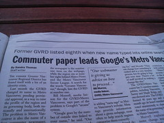Courier story about Metro Vancouver's Google Rank