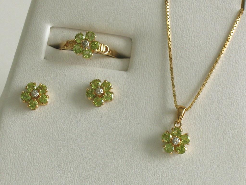 Peridot Diamond Earring, Pendant, and Ring set