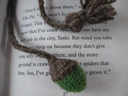 knitted acorn bookmark