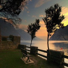 A favourite place where to sit at sunset... (gardawind) Tags: bench tramonto sit soe lakegarda lagodigarda panchina rivadelgarda panca gardawind abigfave aplusphoto ultimateshot