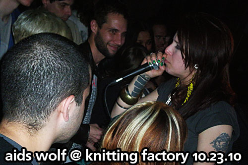 AIDS Wolf at Knitting Factory, Brooklyn, NY, October 23, 2010, CMJ