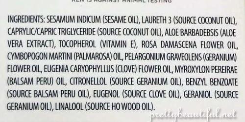 Ingredients of REN Moroccan Rose Otto Bath Oil