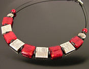 Ruby red Venetian + Thai squares necklace