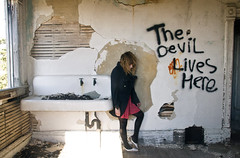 (yyellowbird) Tags: house abandoned girl graffiti illinois message sandwich devil cari dumbmaybe