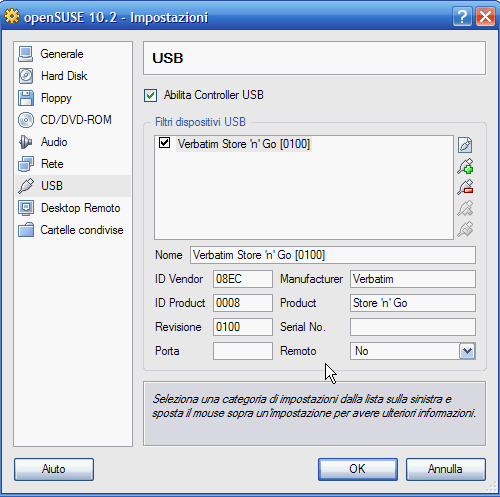 VirtualBox - chiavetta USB aggiunta