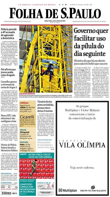 Primeira Página da Folha de S.Paulo