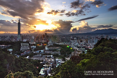 Taipei 101 Skyscraper (*Yueh-Hua 2013) Tags: camera sunset building tower architecture skyscraper canon buildings eos fine taiwan tokina 101  taipei taipei101 dslr    1224mm    30d  101       canoneos30d horizontalphotograph t124  tokinaatx124proifdx1224mmf4 taipei101skyscraper taipei101internationalfinancialcenter 2007june tigerpeak