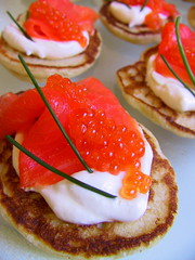 Blinis with ocean trout