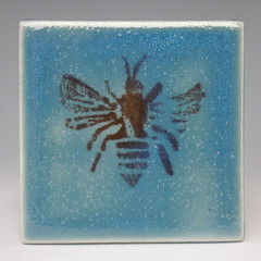 Bee Lino-Cut Wall Tile (ceramicscapes) Tags: bee stoneware walltile claypotteryceramics