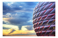Allianz Arena HDR (ulschn) Tags: sunset red munich football stadium soccer hdr allianzarena fcbayernmnchen