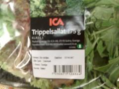 Förpackning med 'trippelsallat' från ICA