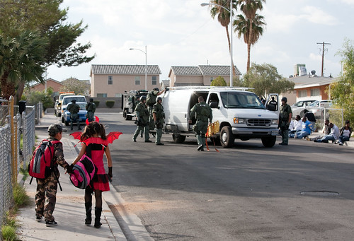 Police Raid, Children Walking
