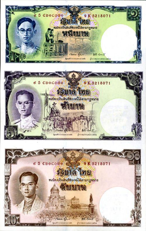 Set 1 + 5 + 10 Baht Thajsko 2007, 80. výročie