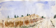 Edge of a Gravel Pit (Artist Naturalist-Mike Sherman) Tags: november autumn art watercolor painting transparent pleinair midmichigan