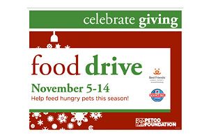 PETCO and Best Friends food drive at all PETCO store locations