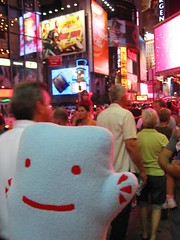 Walkin crowded Times Square! (Spok-spok) Tags: city travel urban newyork cute smile boston fun toy happy design robot cool soft sweden designer vinyl swedish plush softie cuddly kawaii plushie giggling spok designertoy designerplush spoks dotdotdash spokspok