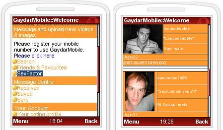 Screenshots of Gaydar mobile menu and member search