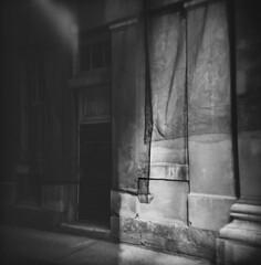 Dark door (J.T.R.) Tags: toronto architecture holga veiled veil mourning neoclassical argus holga120s blackveil