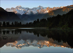 Morning at Matheson (Daniel Murray (southnz)) Tags: newzealand mist mountain lake reflection forest landscape nationalpark scenery cook mount nz southisland tasman westcoast westland matheson aoraki aplusphoto southnz taipoutini theunforgettablepictures