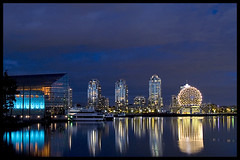 Reflecting on False Creek (Eric Flexyourhead) Tags: canada skyline night vancouver reflections lights bc britishcolumbia falsecreek scienceworld telusphere telusworldofscience zd olympuse500 1445mm aplusphoto diamondclassphotographer theperfectphotographer