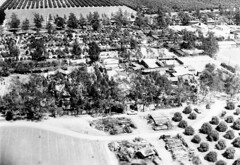 Aerial view of Knott's Berry Farm, looking east, 1948 (Orange County Archives) Tags: california history aerial amusementpark historical southerncalifornia orangecounty themepark buenapark knotts knottsberryfarm orangecountyarchives orangecountyhistory