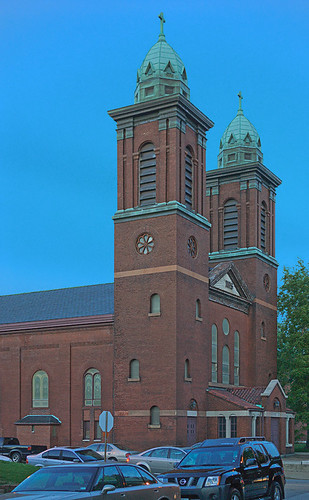 Old Saint Agnes Roman Catholic Church, in Saint Louis, Missouri, USA - exterior at dusk