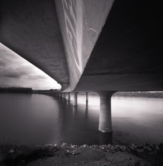bridge (thespeak) Tags: longexposure bridge bw blur water night oregon river square portland movement pinhole pdx toned zero2000 willamette 2010 zeroimage lightroom michaelkenna i205 glennjackson