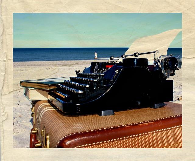 typewriter on beach one