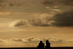 Beach couple sillhouette