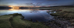 Loch Thom Pano (CU-Photography) Tags: sunset panorama reflection water grass scotland greenock rocks reservoir craig loch usher gloaming inverclyde lochthom thecolinpriorshot muirsheilregionalpark