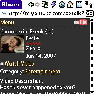 YouTube Mobile Interface on Treo