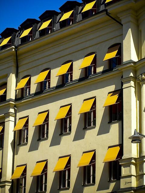 Orange hotel awnings