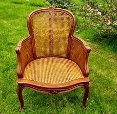 Fancy chair with ready-woven caning