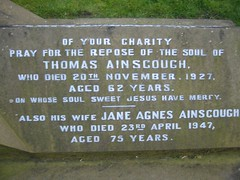 Thomas d.20th November 1927 age 62 & Jane Agnes Ainscough d.23rd April 1947 age 75