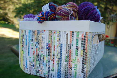 Recycled paper basket by librarysarie