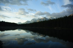 Lake Herbert (Joffley) Tags: blue autumn sky lake canada mountains reflection tree clouds canon dawn early pines alberta getty banff treeline herbertlake