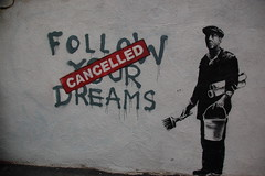 Banksy in Boston: F?O?L?L?O?W? ?Y?O?U?R? ?D?R?E?A?M?S? CANCELLED, Essex St, Chinatown, Boston