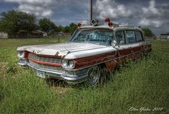 Cadillac Ambulance (Ellen Yeates) Tags: old red white classic car austin ellen texas cadillac ambulance taylor hdr 1964 yeates photomatix