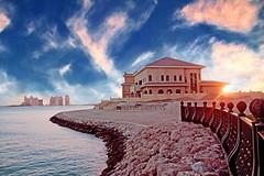 @the pearl / Qatar.. (Not Soo Innocent.Busy.) Tags: sky beach clouds villa pearl  doha qatar     ilqatar