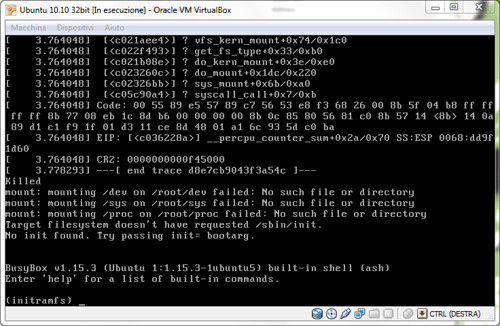 Figura 3 - Guest Ubuntu danneggiato dal crash dell'host;