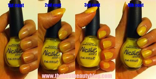 Nicole, OPI, yellow, nail polish, shimmer, step-by-step