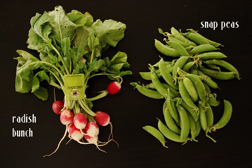 radish bunch and snap peas