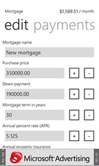 Screen for adding or editing mortgages. The estimated payment is auto-updated with each change.