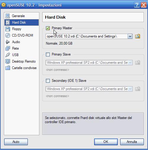 VirtualBox - connessione disco rigido principale e aggiunta ulteriori dischi al PC virtuale