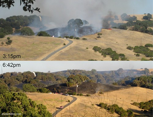Comparing the hills during and after the fire