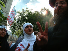 Muslim Jewish Solidarity (amjamjazz) Tags: street portrait people urban lebanon london respect political politics religion protest hijab documentary social demonstration